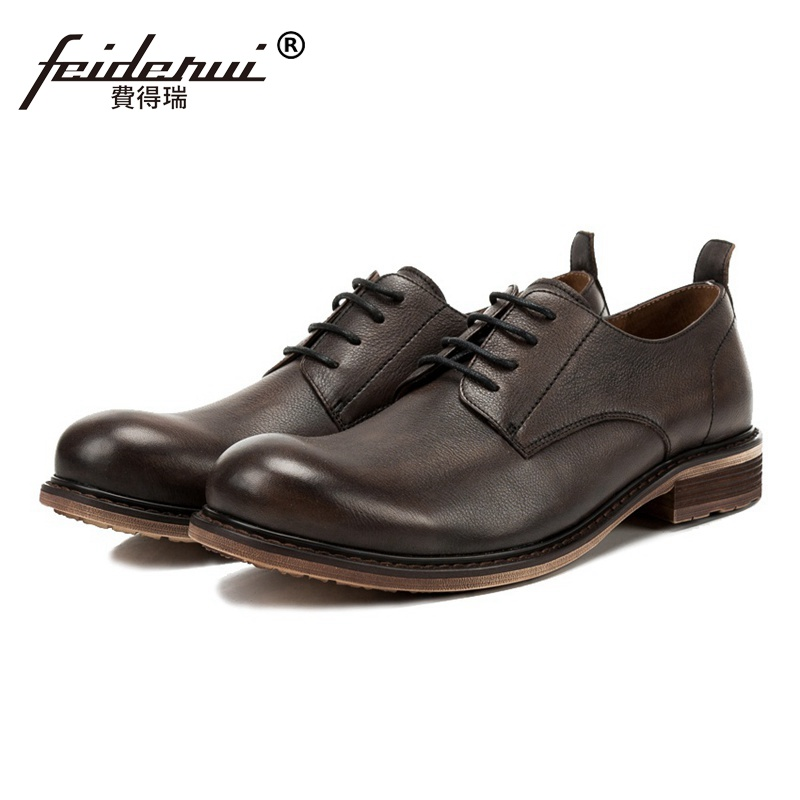Basic Genuine Leather Wedding Party Mens Handmade Footwear Vintage Round Toe Derby Comfortable Man Formal Dress Shoes SS183