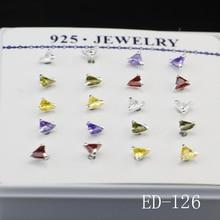 New 20Pcs Pretty Crystal Rhinestone  Nose Stud, Triangle Shiny 4A Zircon Nose Stud, Free Shipping Stud Earrings ED126