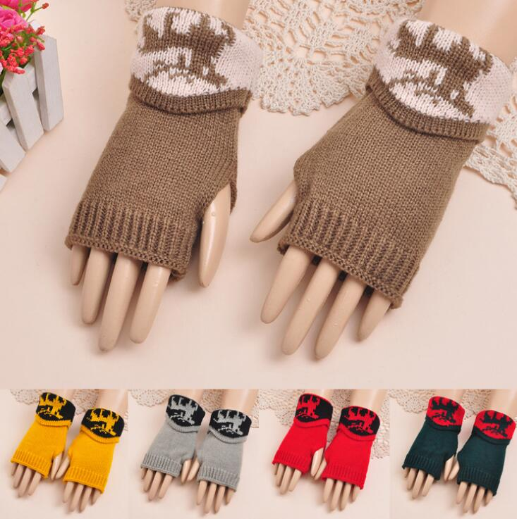 Autumn and winter womens thicken warm knitted gloves ladys winter fingerless arm sleeve winter deer print glove R143