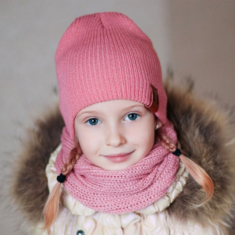 Warm Winter Onesie Baby Hats Warm Child Neck Gaiter Ring Scarf Mom And Baby Matching Hats Kids Knit Cap Snood Braga Neck Scarves