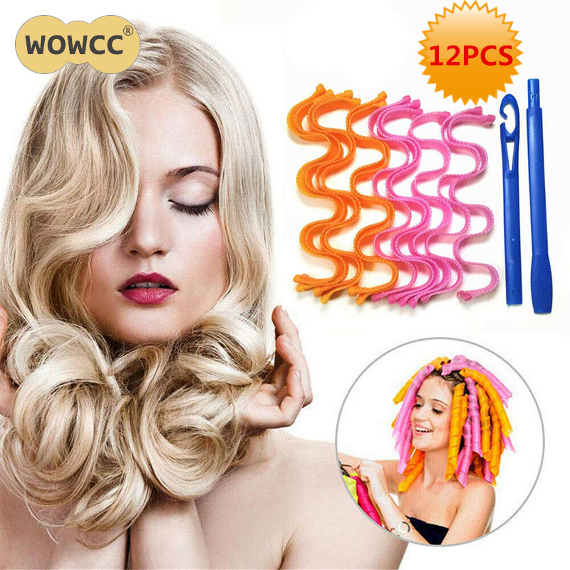 12pcs/Set Easy To Use 30/45cm Magic Long Hair Curlers Not Hurting Hair Curl Formers Ringlets Curler Hair Styling Tools Kit
