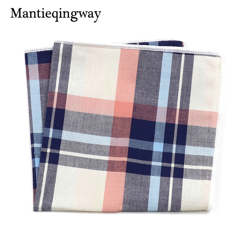 Fashion Casual Plaid & Striped Handkerchief Men Formal Wear Business Suit Pocket Square Handkerchiefs Cotton Hanky