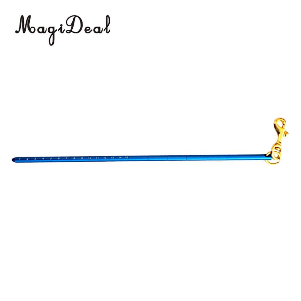MagiDeal Aluminum Alloy 13.4 340mm Scuba Diving Dive Lobster Stick Pointer/Tank Banger With Attachment Clip (Brass Bolt Snap)