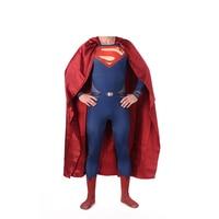 High Quality Superman Spandex Suit Costume Blue Zentai Suit Superman Costume Adult Spandex Cosplay Superhero Movie