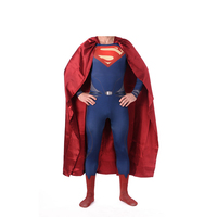 High Quality Superman Spandex Suit Costume Blue Zentai Suit Superman Costume Adult Spandex Cosplay Superhero Movie