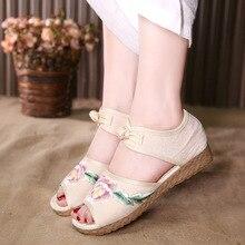 3548 г. сандалии на плоской подошве с пряжкой в национальном стиле с вышивкой женская обувь