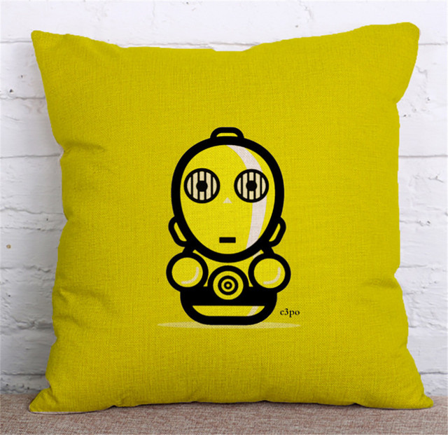 ZXZXOON Cute Cartoon Star Wars Master Yudaka Home Textile Lovely decorative throw pillowcase cotton linen cushion cover