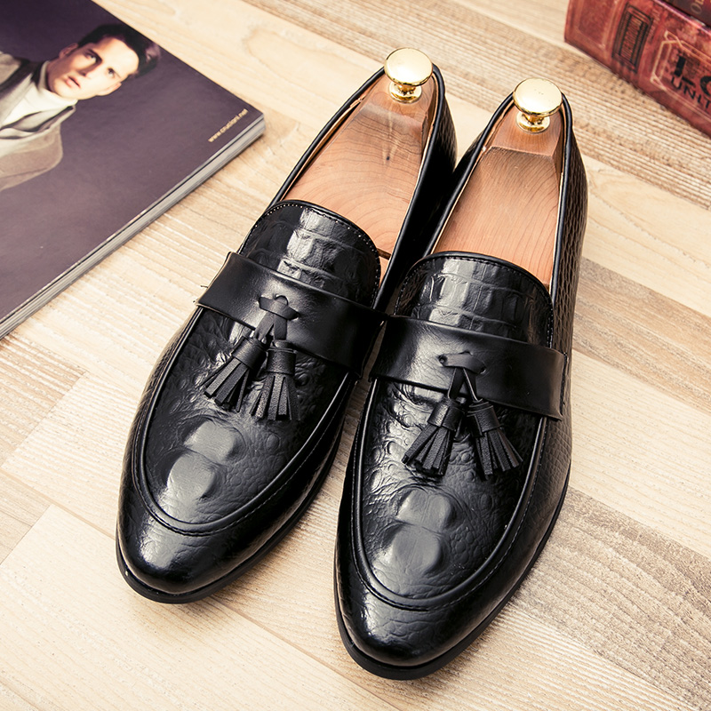 mens tassel shoes leather italian formal snake fish skin dress office footwear luxury brand fashion elegant oxford shoes for men (42)