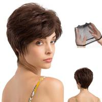 Natural Real Human Hair Wig White Titled Frisette Short Curly/ Brown Short Straight Hair Wigs for Women