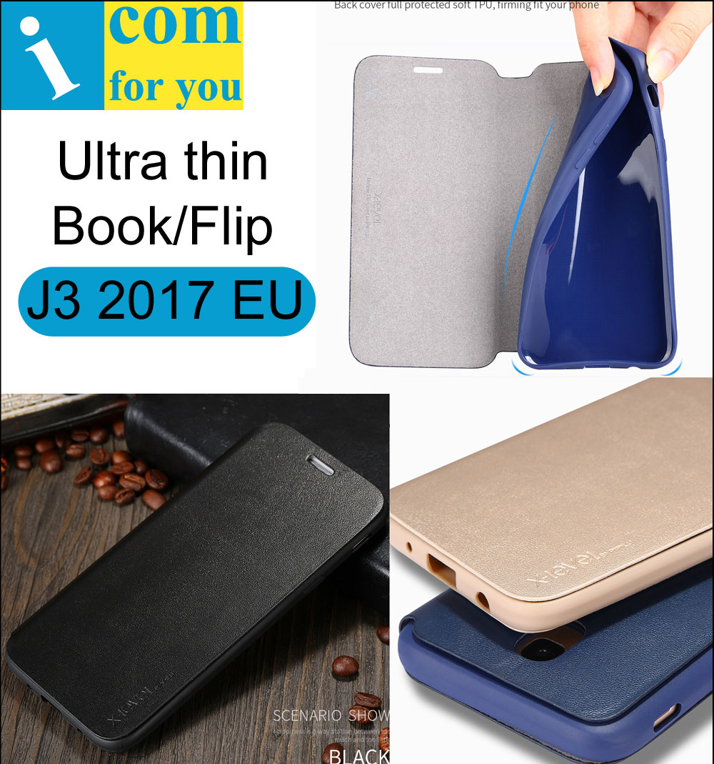 X-Level Book Leather Flip Case Cover For Samsung Galaxy J3 2017 J330F European X Level Fibcolor Ultra thin Wallet TPU J3 Pro