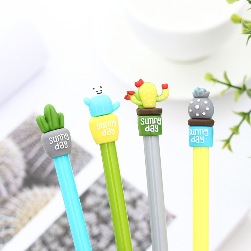 Creative kawaii cactus gel pen cute erasable korean pens for kids writing school supplies Free shipping 3210 10pcs multicolor gel pens set cute korean stationery pen for school office supplies writing with packaged box by free shipping