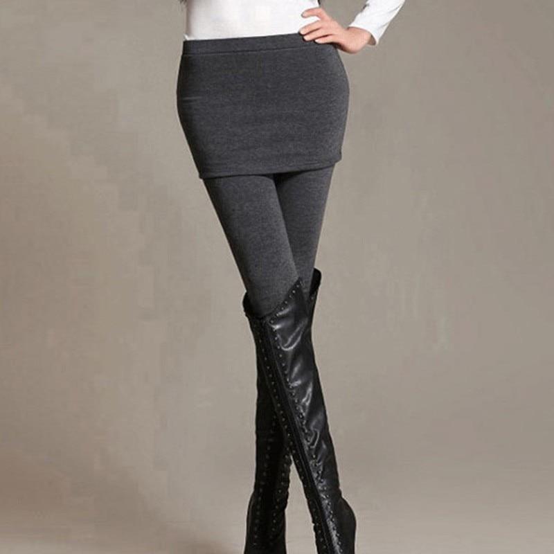 Women Skirt   Leggings   Stretch Slim Pants Autumn Winter Fake 2 PCS Warm   Leggings