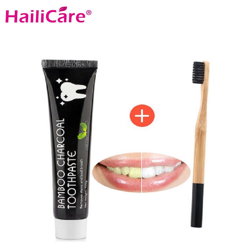 Blanqueamiento de dientes de bambú Natural activado carbón negro pasta de dientes cepillo de dientes higiene bucal cuidado Dental
