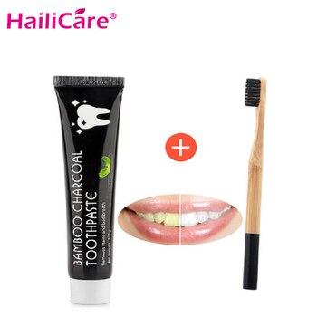 Ensemble de blanchiment des dents bambou naturel charbon actif noir dentifrice brosse à dents hygiène buccale soins dentaires