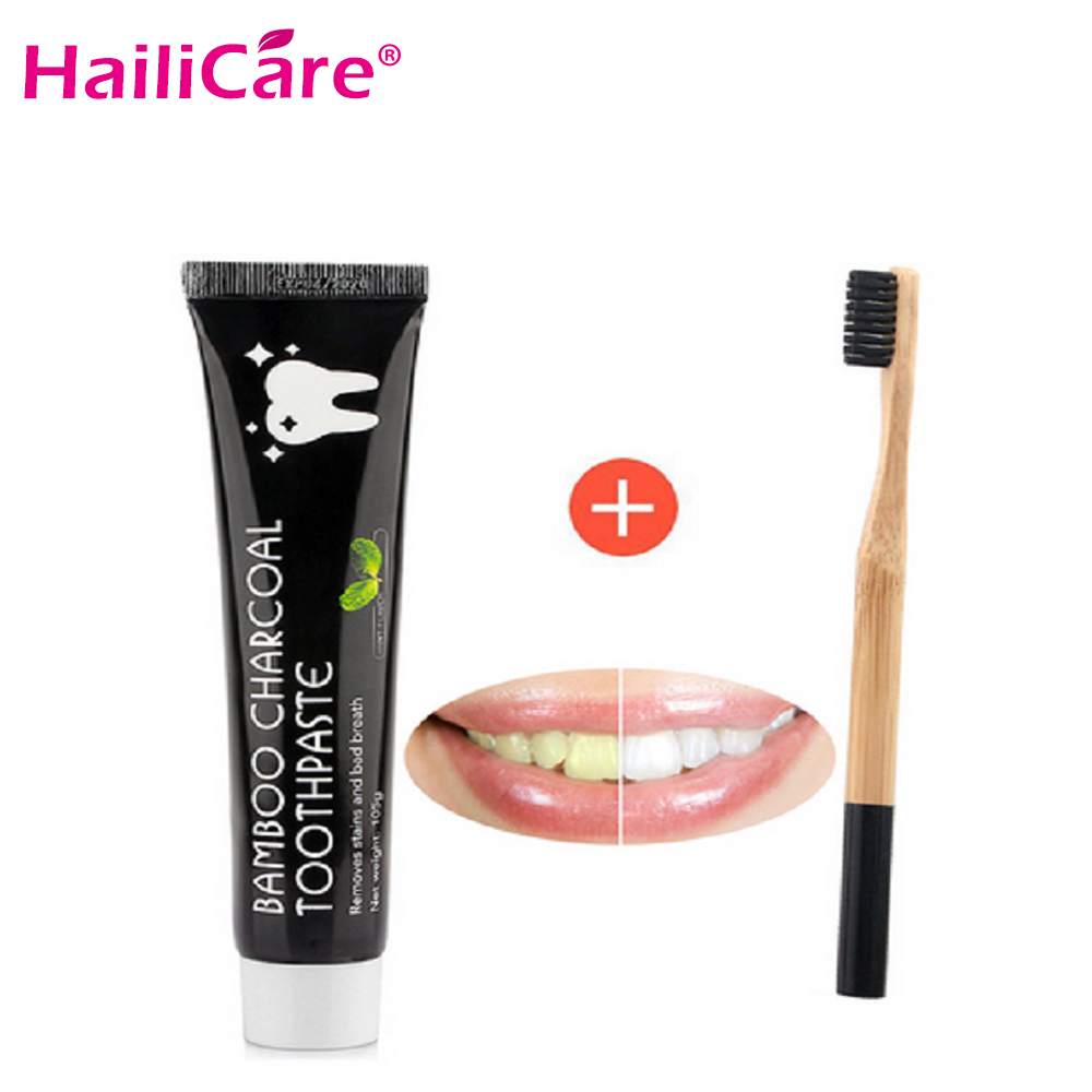 Teeth Whitening Set Bamboo Natural Activated Charcoal Black Toothpaste Toothbrush Oral Hygiene Dental Tooth Care