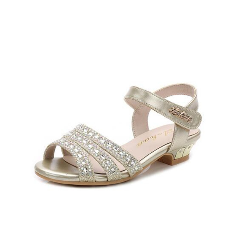 Girls Sandals Kids Diamante Buckle Strap Open Toe Casual Fashion Summer New
