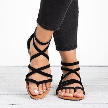 b6b054b6 Sandalias directas de fábrica para mujer talla grande 43 sandalias de  gladiador para playa zapatos de verano planos mujer Zip Dropshipping  Chaussures Femme