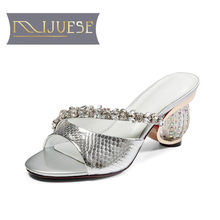 MLJUESE 2018 women slippers summer silk crystal slip on blue color pumps cinderella diamond heel sandals women size 34-43(China)