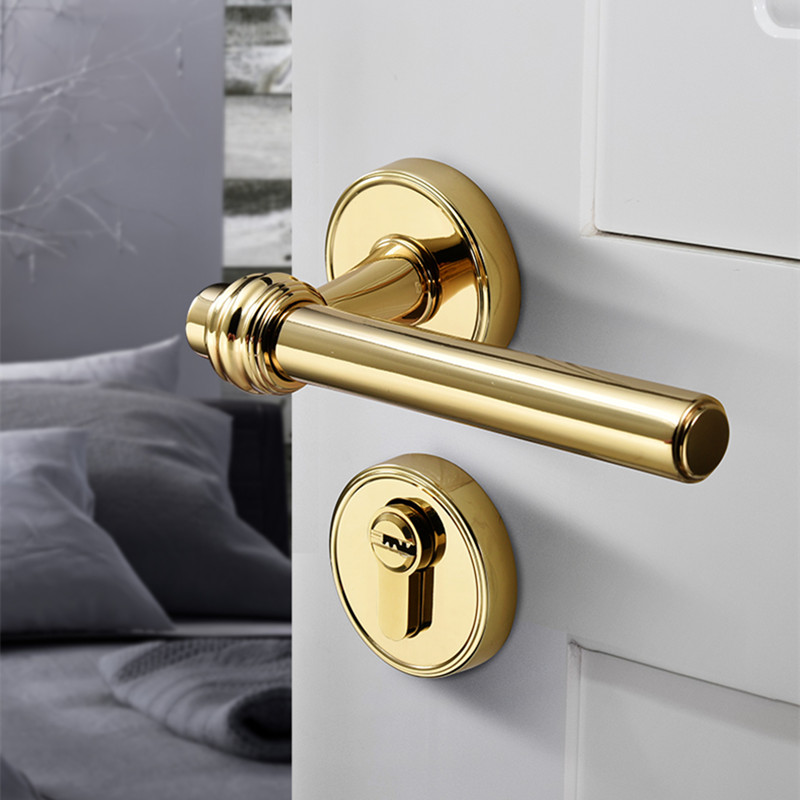 High Quality Modern Gold Interior Door Handle Lock Hardware Handles for