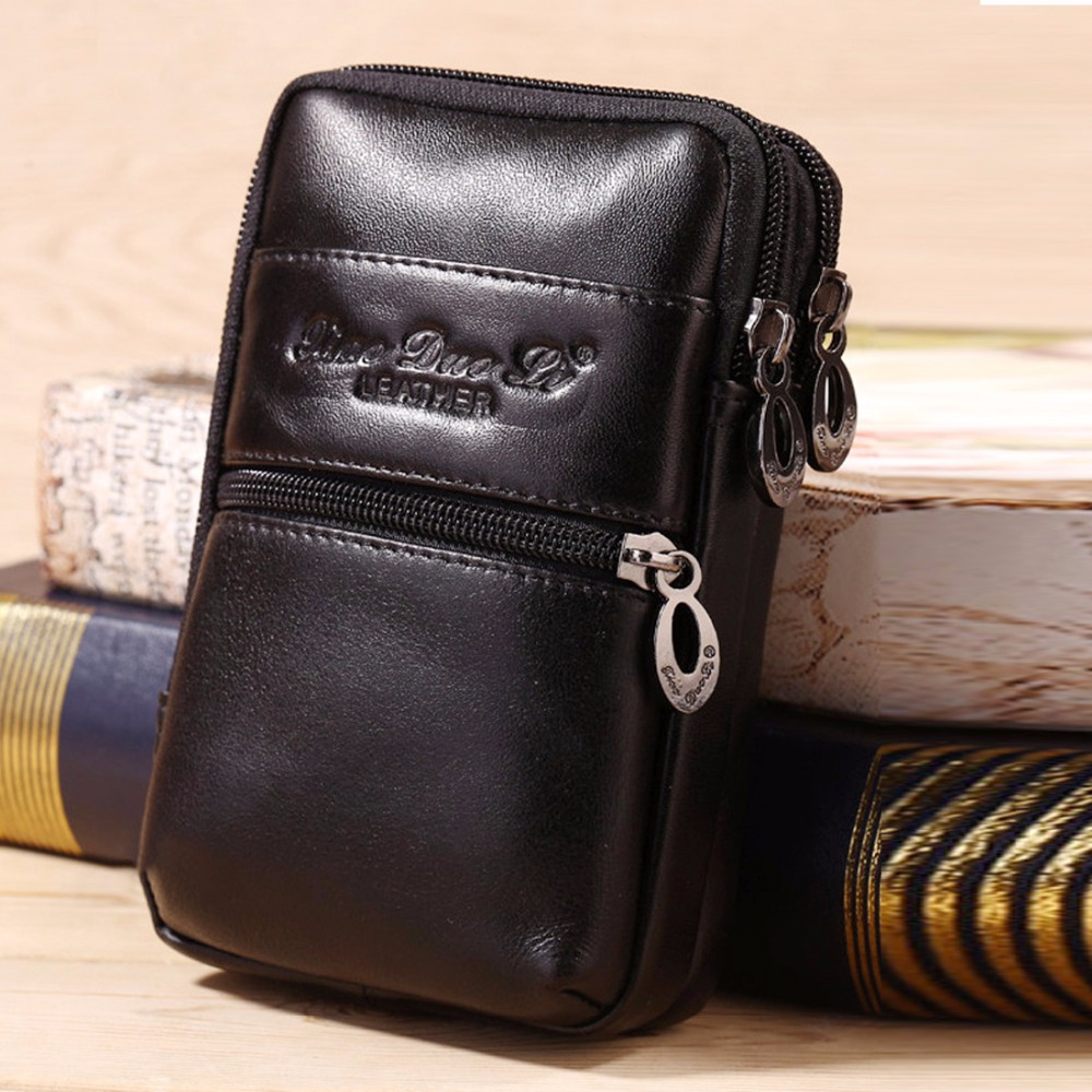 Men Genuine Leather Cowhide Waist Pack Bag Hook Cell Mobile Phone Pocket Cigarette Key Case Belt Hip Bum Money Coin Purse Pouch hot sale men canvas waist packs army green solid phone bag hip belt portable man wallet purse case pouch waist bags 2017