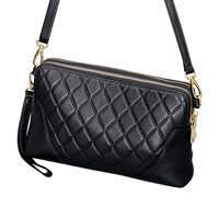 Our ReALIty 1 Mini Plaid Leather Women Handbag Small Flap Vintage Black Office Lady Crossbody Bag EGT0118