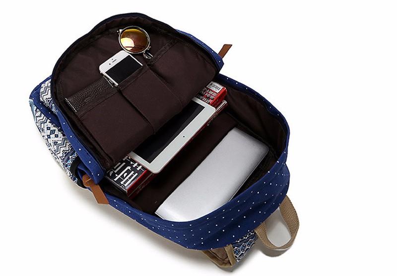 Canvas Printing Backpack Women School Bags for Teenage Girls Cute Bookbags Laptop Backpacks Female Bagpack 3 Piece one Set 4