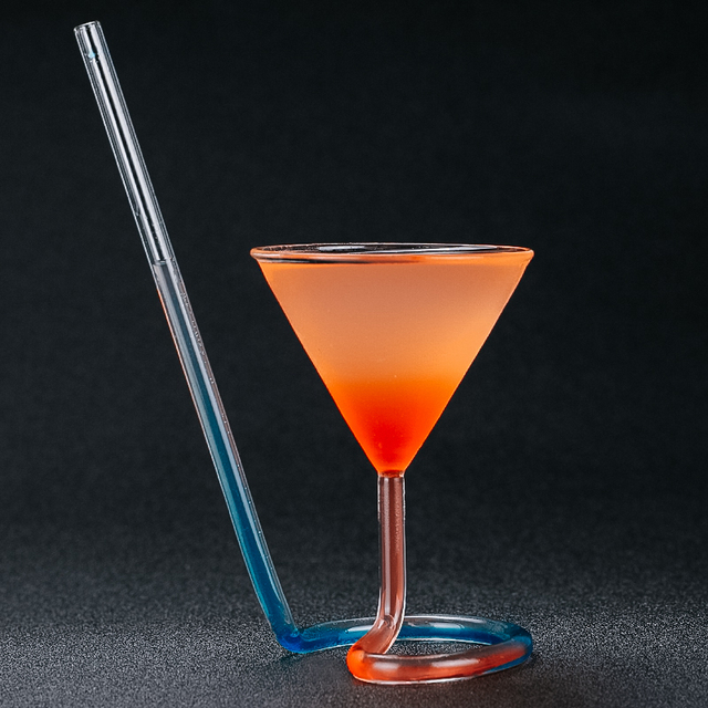 Creative Screw Spiral Straw Molecule Cocktail Glass Bar Party Goblet Martini Champagne Coupes Vaso Wine Glasses Charms