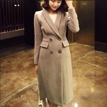 98efb5d6f466d8 Elegante Drehen Unten Kragen Warme Winter Wolle Blends Weibliche Büro Dame  Langen Mantel Frauen Casual Herbst Mantel Oberbekleid.
