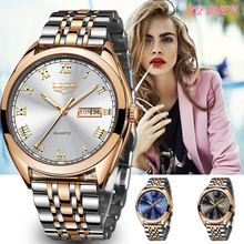 LIGE montre à Quartz pour femme, style or blanc, nouvelle collection 2019, de marque de luxe, horloge avec boîte, collection décontracté