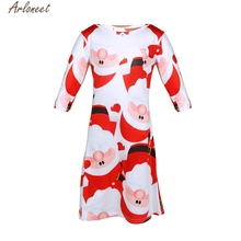 Christmas Dress For Gril New Children Baby Red Santa Claus Long Sleeves T-shirt Swing Party Dress Kids Vestido Infantil H20