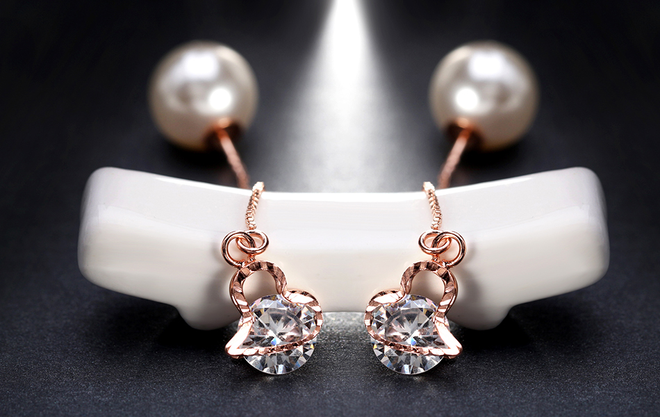 Effie Queen Fashion Cute Ear Wire Earrings Female Models Long Drop Crystal Imitation Pearl Jewelry Dangle Earrings Brincos DDE26 16