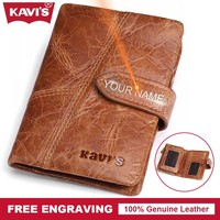 KAVIS Crazy Horse Genuine Leather Wallet Men Coin Purse Walet Portomonee PORTFOLIO Small Card Holder Perse