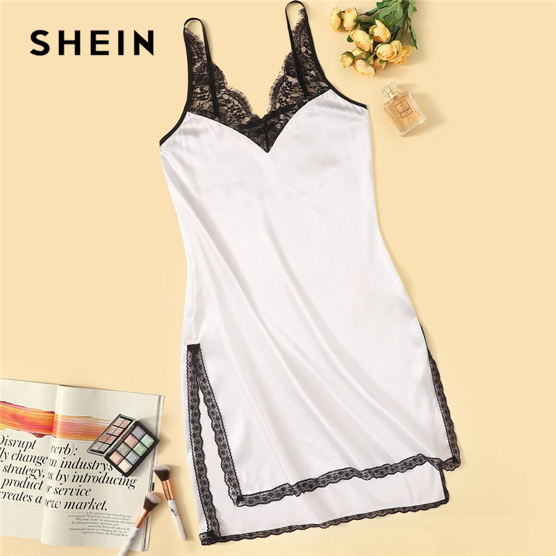 SHEIN Contrast Lace Insert Split Side Nightdress Women White Spaghetti Strap Summer Nightgowns 2019 Sexy Sleepwear Nightwear