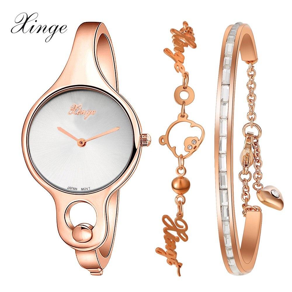 Prix pour Femmes Montres Xinge De Luxe Robe Bracelet Montre Cristal Strass Casual Quartz Montre-Bracelet Horloge Femmes Montre De Mode Montre