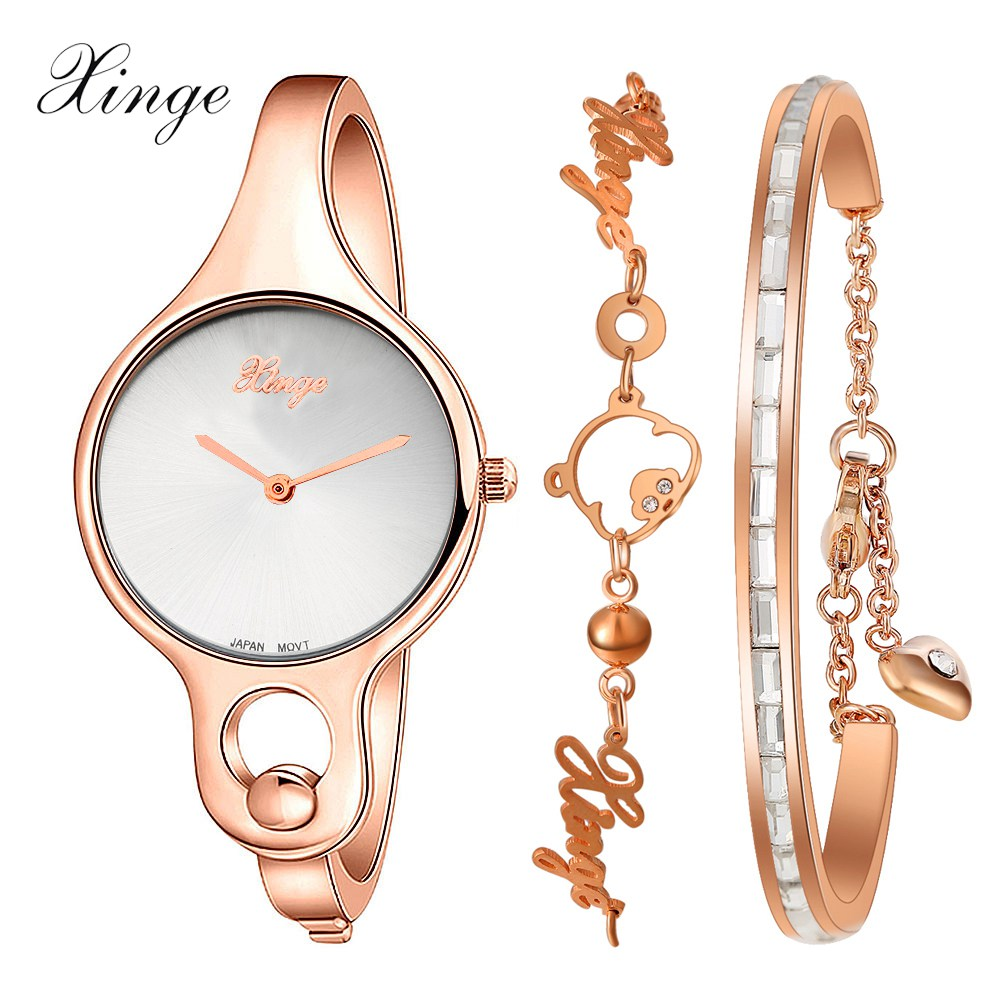 Women Watches Xinge Luxury Dress Bracelet Watch Crystal Rhinestone Casual Quartz Wristwatch Clock Fashion Women Montre