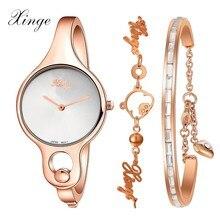 Mujeres Relojes Xinge Reloj de diamantes de Imitación de Cristal de Lujo Vestido de Pulsera de Cuarzo Ocasional Reloj de pulsera de Moda Reloj Mujer Montre Reloj