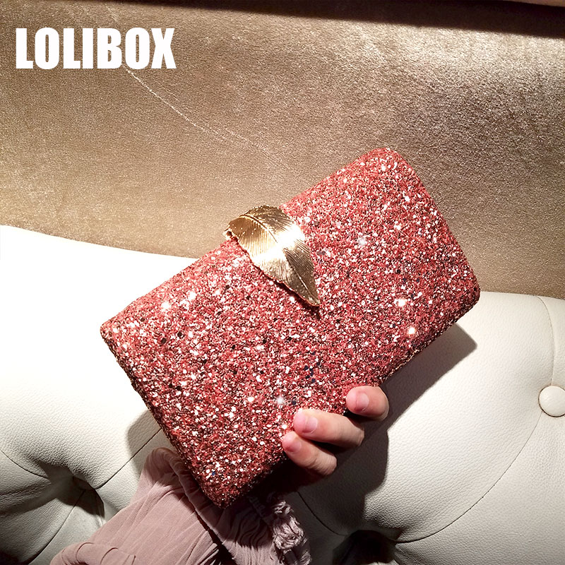 LOLIBOX Women Clutches Pink Glitter Sequins Metal Leaf Alloy Clutch Bag Evening Party Small Bag Chain Shoulder Bags PursesLOLIBOX Women Clutches Pink Glitter Sequins Metal Leaf Alloy Clutch Bag Evening Party Small Bag Chain Shoulder Bags Purses