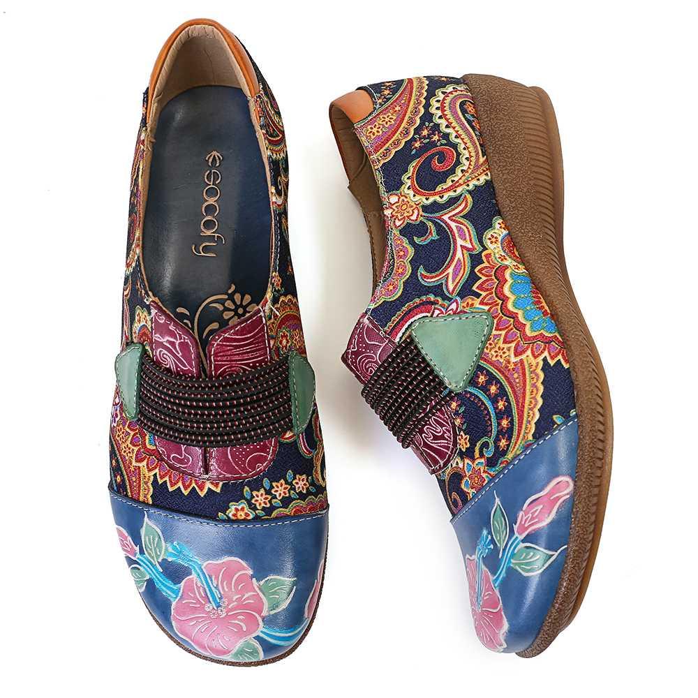 SOCOFY Folkways الشقق الزهور نمط جلد طبيعي الربط سوار مطاطي من الجاكارد الانزلاق على حذاء مسطح النساء أحذية الصيف-في أحذية نسائية مسطحة من أحذية على  مجموعة 2
