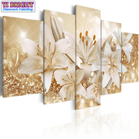 5D Diy Round Diamond Embroidery Magnolia 5pcs Multi Picture Combination Diamond Painting Cross Stitch Rhinestone Decor