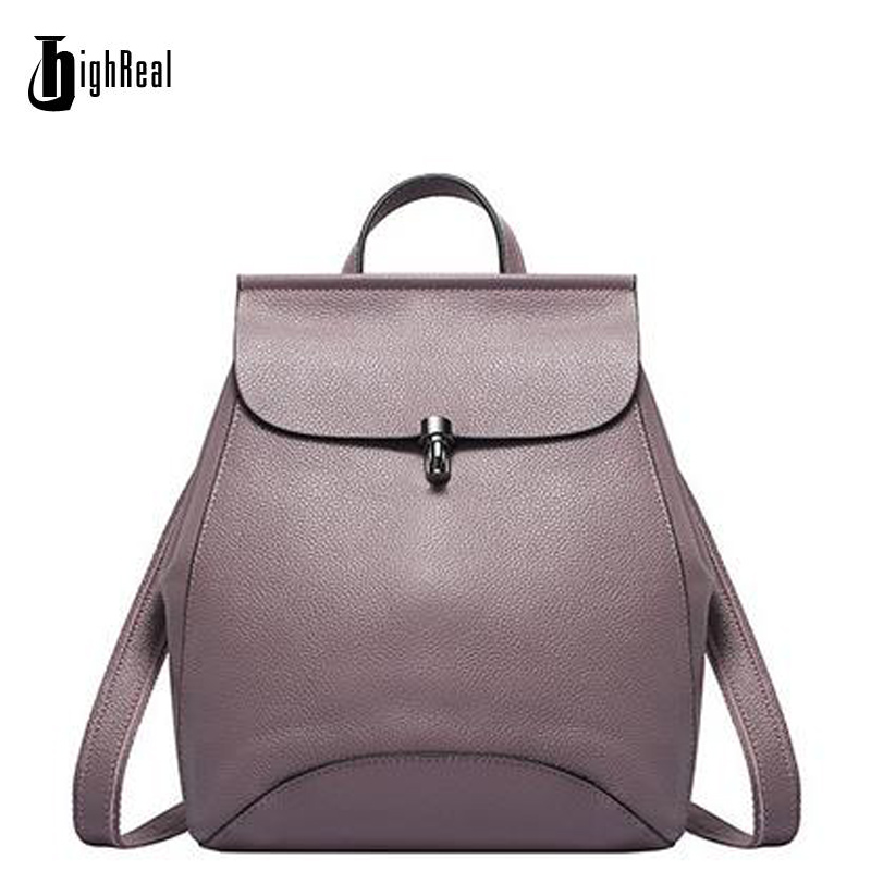 цены HIGHREAL High Quality Genuine leather Cowhide Women Backpacks Bullet Lock Ladies Bags Backpack Casual School Preppy Style Girl