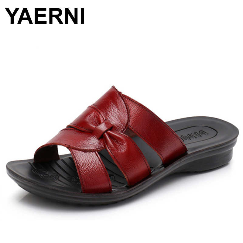 YAERNI  Women Slippers Shoes Genuine Leather Casual Slides Women Summer Shoes Retro Solid Mother Shoes Wedges Flip Flops