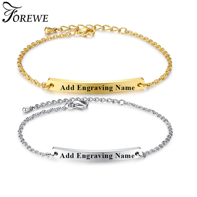 Forewe Personalized Bracelet Gold Color Stainless Steel Engraved Name Custom Bangle For Women Men