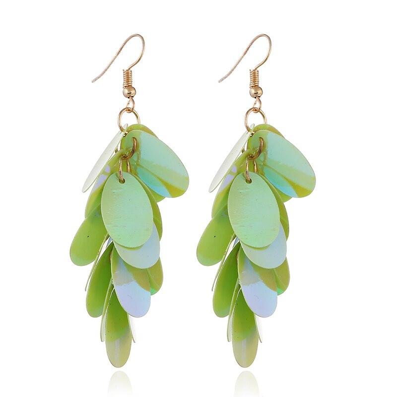 HOCOLE Fashion Boho Bling Long Drop Dangle Earrings for Women Handmade Colorful Sequins Tassel Earrings Ethnic Statement Jewelry in Drop Earrings from Jewelry Accessories