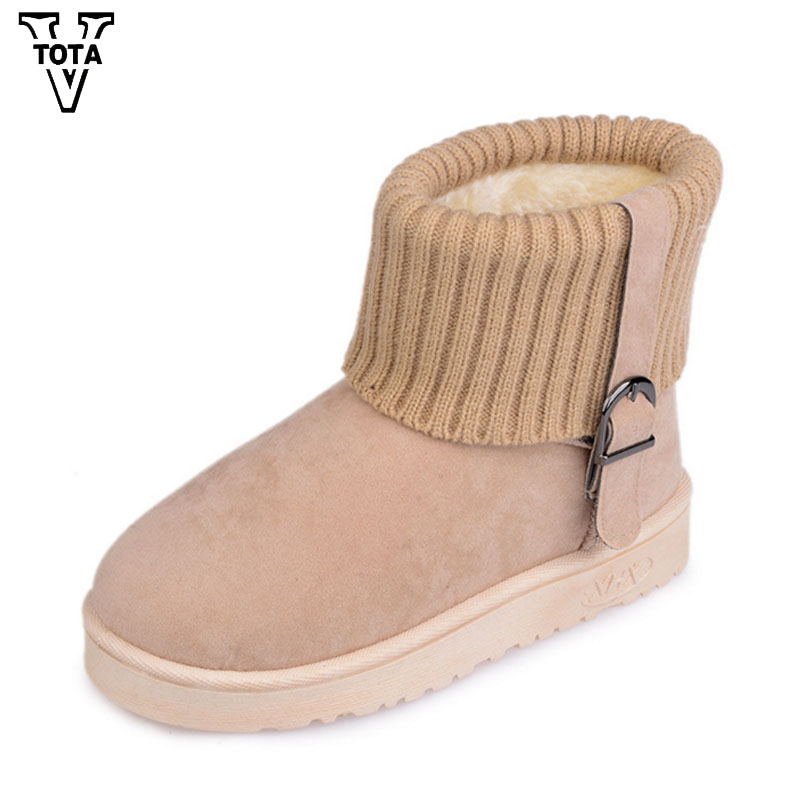 VTOTA Fashion Women Boots Winter Snow Boots Mujer Botas Female Flats Warm Shoes Ankle Boots Buckle Fur Feminina Short Boots FC21 2017 women boots female snow ankle boots warm ladies winter warm fur casual shoes woman zippers fur thick sold flats botas mujer