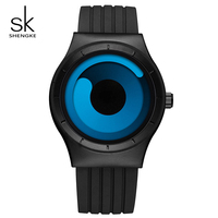 SK Top Brand Rotating Fashion Sports Quartz Watch For Men Black Silicone Band Watches Waterproof Wristwatch