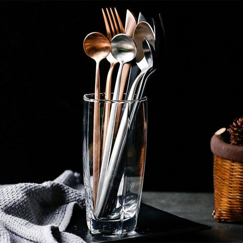 KuBac 30-Pieces Gold/Black/Silver 18/10 Stainless Steel Cutlery Steak Knife Fork Dinnerware Rose Gold Cutlery Set Tableware