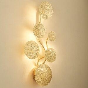 Image 2 - מקורה סלון קישוט קיר מנורת עם G4 LED נורות תאורה לצד המיטה בחדר שינה מנורת גופי לוטוס עלה צורת פמוט קיר
