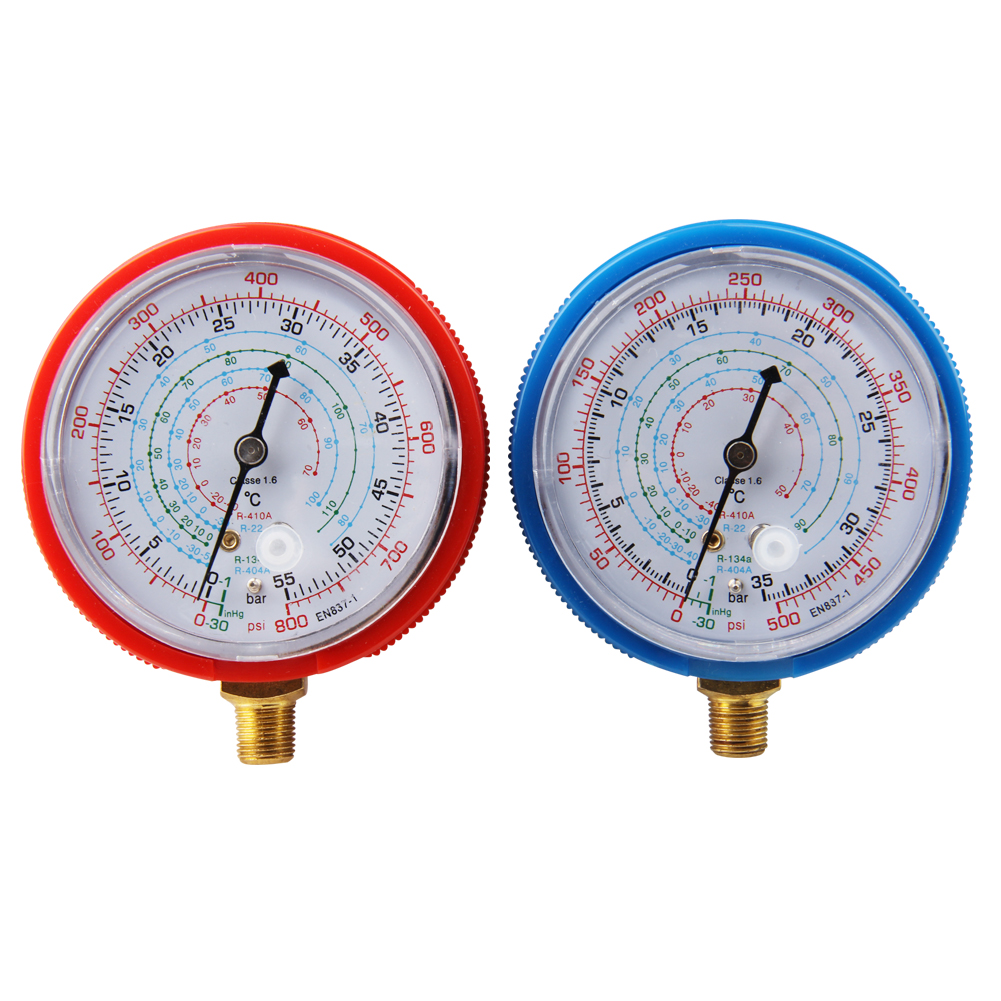 CarBole  Scientific  Pair Air Conditioner R410A R134A R22 Refrigerant Low&High Pressure Gauge PSI KPA diagnostic-tool