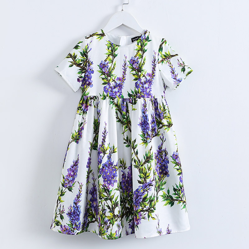 Summer brand old children clothing Aline short sleeve big hem lilac flower casual dress teenager 3-14T kids girl fashion dresses open shoulder dolman sleeve dip hem dress