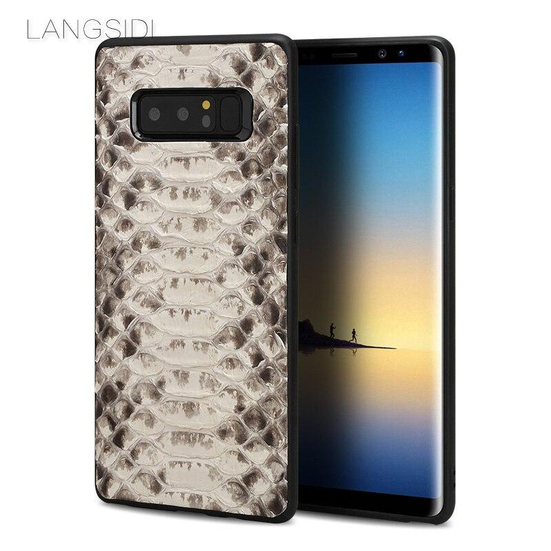 Wangcangli marque cellulaire coque de téléphone python naturel housse de téléphone étui pour samsung Note 8 couverture de téléphone cellulaire tous faits à la main personnalisé